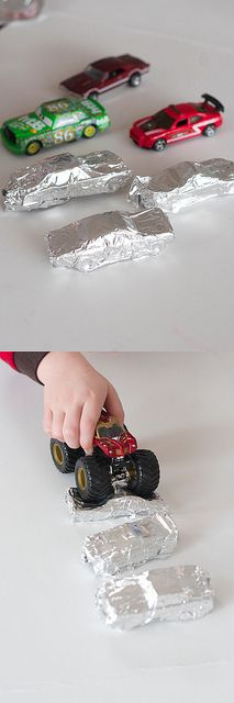 Tin Foil Demolition Derby- cover toy cars in foil, take off, and demolish with monster truck!