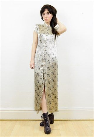 90s+beige+satin+oriental+style+button+down+dress
