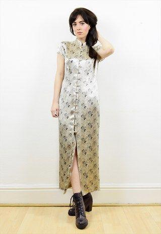 90s+beige+satin+oriental+style+button+down+dress