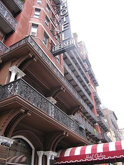 Hotel Chelsea - Wikipedia, the free encyclopedia.  Showing cast iron balconies.  the 250-unit[2] hotel has been the home of numerous writers, musicians, artists, and actors, including Bob Dylan, Virgil Thomson, Charles Bukowski, Janis Joplin, Leonard Cohen, Patti Smith, Iggy Pop, Jobriath, and Larry Rivers.