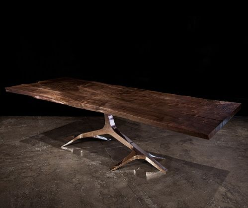 I WANT THIS! - Rose Base Dining Table from Hudson Furniture Inc.. Solid walnut slab top (natural finish) with either polished stainless steel, polished bronze or patina bronze finish base. Custom sizes available