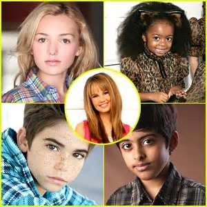 The cast of Jessie. Middle (Jessie) Debby Ryan. Top left corner (Emma) Peyton List. Top right corner (Ziri) Skai Jackson. Bottom left corner (Luke) Cameron Boyce. Bottom right corner (Ravi) Karan Brar.