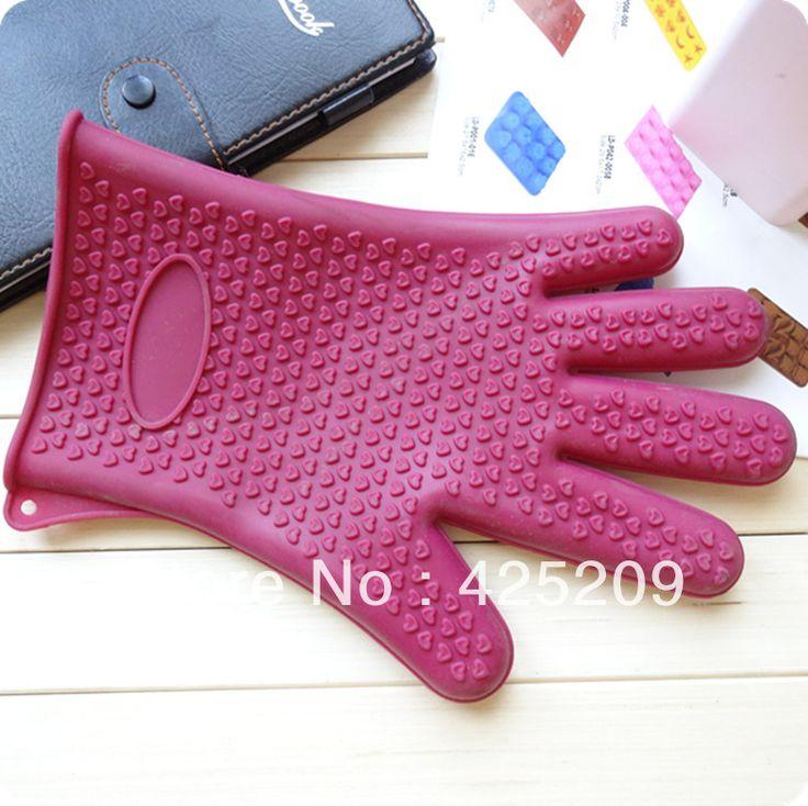 Silicone anti - quente conjuntos de cozimento luvas de dedos resistente de 230 graus 31 * 18 * 2.5 CM bakeware alishoppbrasil