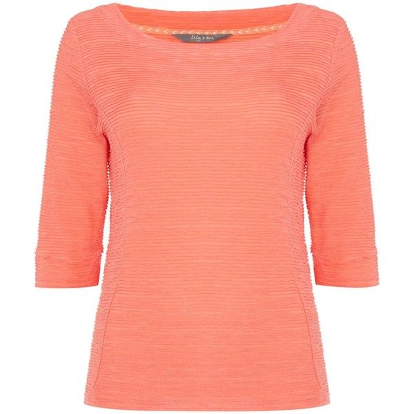 LILY & ME 3/4 sleeve textured top ($43) ❤ liked on Polyvore featuring tops, coral, women, red jersey, red top, 3/4 sleeve jersey, 3/4 length sleeve tops and three quarter sleeve tops