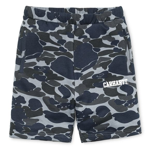Carhartt WIP Sweat Short - Camo Isle, Duke Blue / White