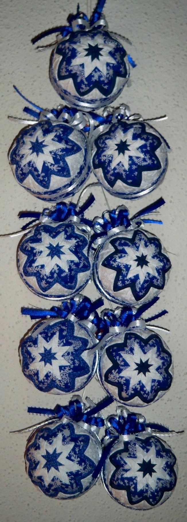 Folded fabric christmas ornaments patterns - White And Blue Fabric Ornamentsquilted Ornamentschristmas