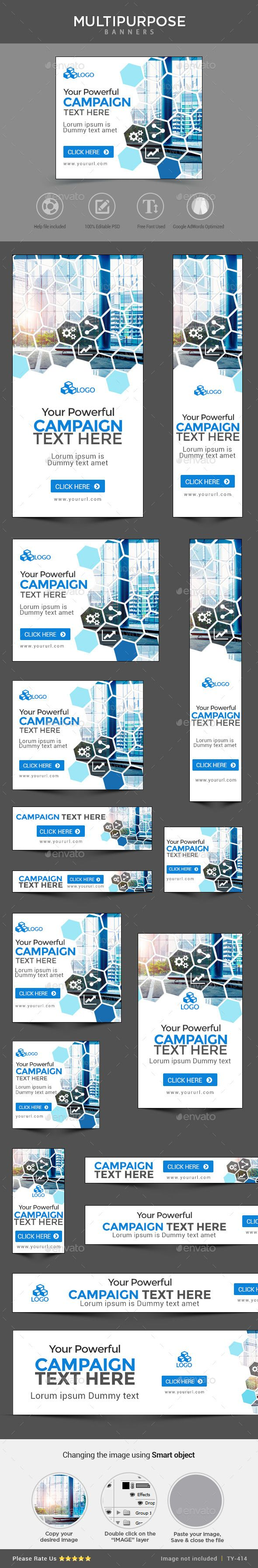 Promote your Products and services related to any niche with this great looking Banner Set.