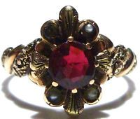 ANTIQUE VICTORIAN 10K YELLOW GOLD ORNATE SEED PEARL POSSIBLE GARNET ESTATE RING
