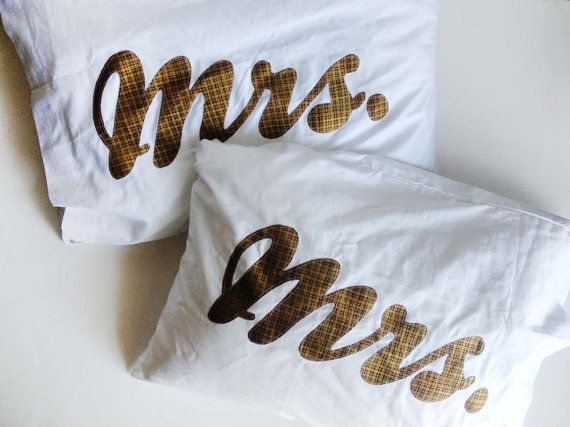 Mrs. and Mrs. Hers and Hers Pillow Cases Equality For All, Gay Marriage