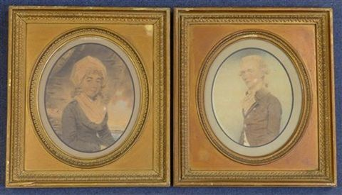 Portraits of Henry Cecil afterwards 1st Marquess of Exeter and Mrs Cecil formerly Miss Emma Vernon (pair) by John Downman