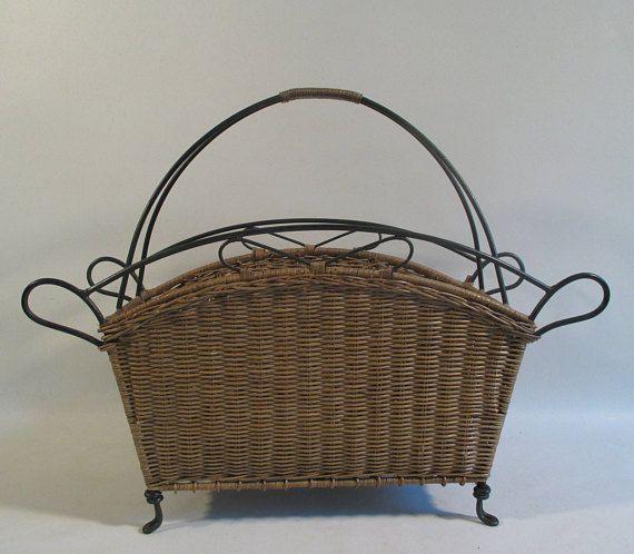 Wicker Magazine Rack Vintage Multi Purpose Basket Tropical