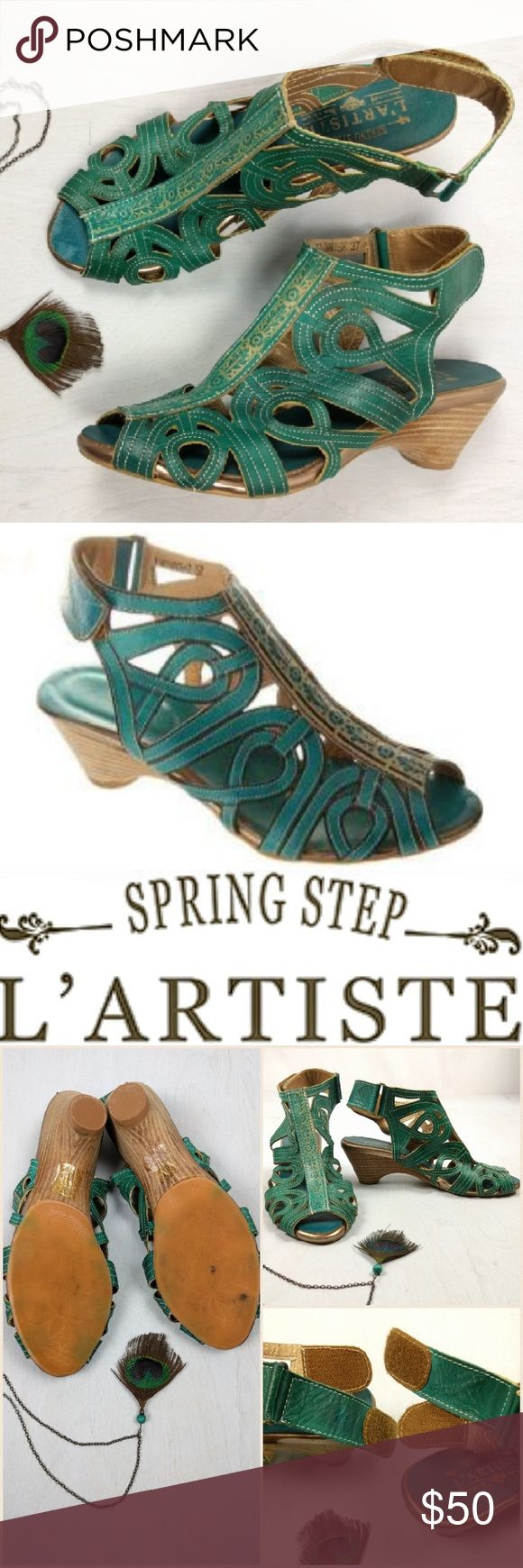 """L'ARTISTE """"Flourish"""" by Spring Step Artisan Bootie Beautiful hand stamped and cut leather forms a unique ankle boot sandal combo. Great blue green teal color. Antique gold or bronze edge. Wooden stacked and rounded heel. Flexible foot bed. Adjustable Velcro closure. On sale online now for $99 + shipping! Soft and comfortable. Perfect for Spring. Amazing condition!! A few dark spots on soles are the only signs of wear! Spring Step Shoes"""
