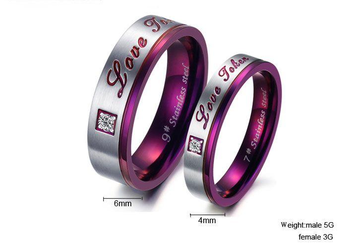 Purple Classic Rhinestone CZ Titanium Stainless Steel Mens Ladies Couple Promise Ring Wedding Bands Matching Set-3374 at $22.99 | Yoyoon.com