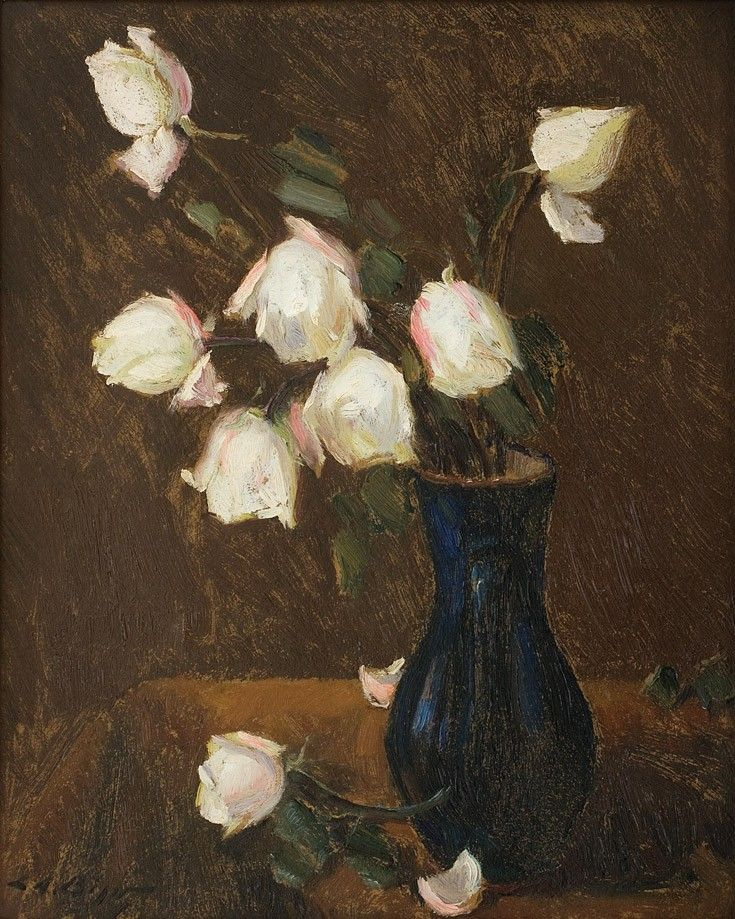 Leon Alexandru Biju, Trandafiri albi - ulei pe carton, 58,3 × 47,3 cm, semnat stânga jos cu negru, L.A. Biju