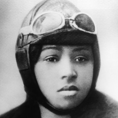Bessie Coleman - first female African American pilot. No American flight schools would take her, so she moved to France to train and live. She earned her living barnstorming and stunt flying.