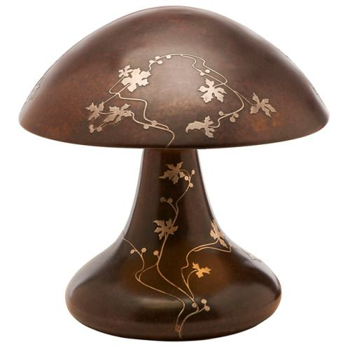 """Heintz Art Metal Shop, Woodbine mushroom table lamp, Buffalo, New York, bronze with applied silver overlay, foil label on base, 15""""dia x 15""""h  Provenance: Property from the Collection of Dr. Leslie and Sydelle Sher, Delray Beach, Florida"""