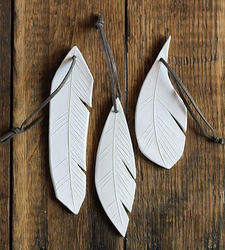 Ceramic Feather Ornament Trio