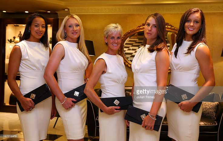 Anne Keothavong, Elena Baltacha, Judy Murray, captain of Great Britain, Johanna Konta and Laura Robson of Great Britain pose for a team photo at the Pan Americano Hotel during previews ahead of the Fed Cup World Group Two Play-Offs between Argentina and Great Britain at Parque Roca on April 18, 2013 in Buenos Aires, Argentina.