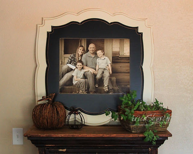 Frame for family photo. Hubby better get out his jigsaw
