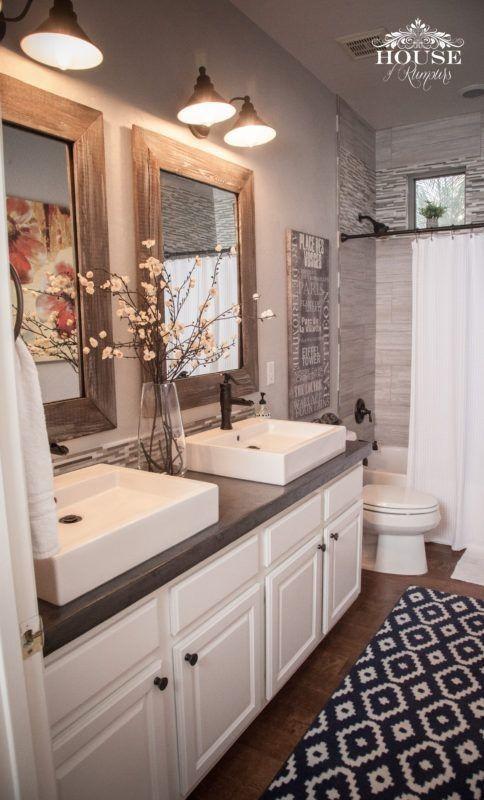 Bathroom Rustic Modern Home Decor Double Sinks Shower Curtain Rug White Cabinet Farmhouse Two Mirrors Wood Framed Mirror Light Diy
