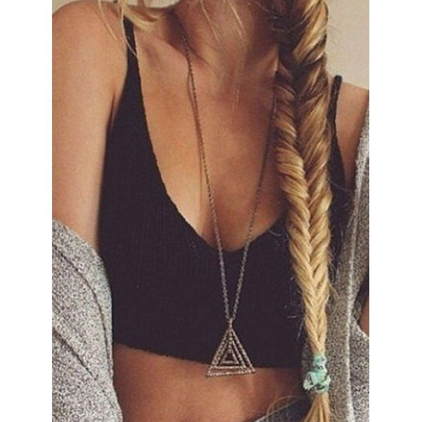 Stylish Spaghetti Strap Sleeveless Solid Color Low Cut Knitted Women's Tank Top