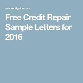 Free Credit Repair Sample Letters for 2016