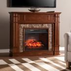 Rochester 48 in. W Faux Stone Infrared Electric Media Fireplace in Whiskey Maple