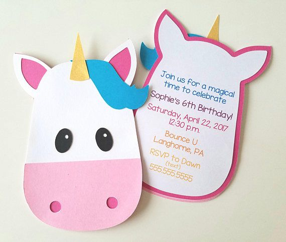Invitaciones fiesta de unicornio  paquete de 10