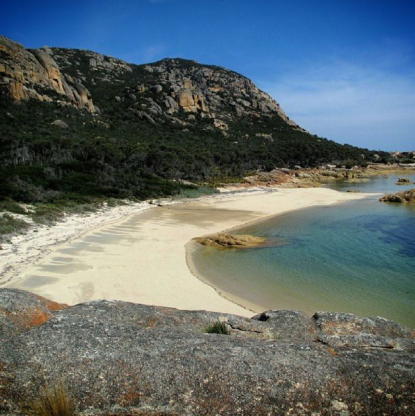 Flinders Island is home to many sandy coves like this one, which are ideal for a swim. Forming part of the Furneaux Group, Flinders is one of 52 islands that punctuate the Bass Strait between Tassie and mainland Australia. #flindersisland #tasmania #discovertasmania Image Credit: Bonnie Butler