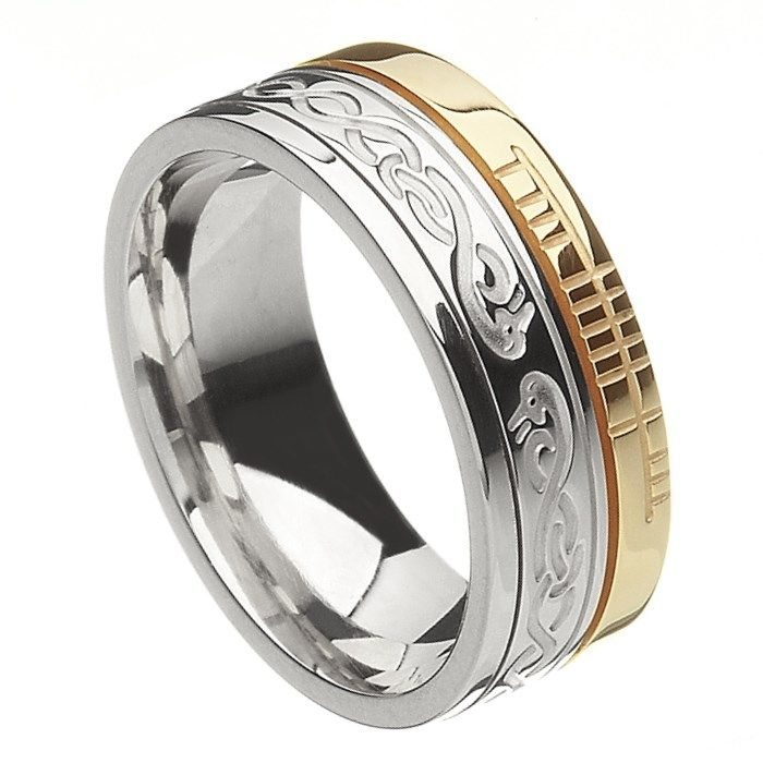 Comfort Fit LeCheile Faith White Gold with Yellow Rail Band - Rings from Ireland