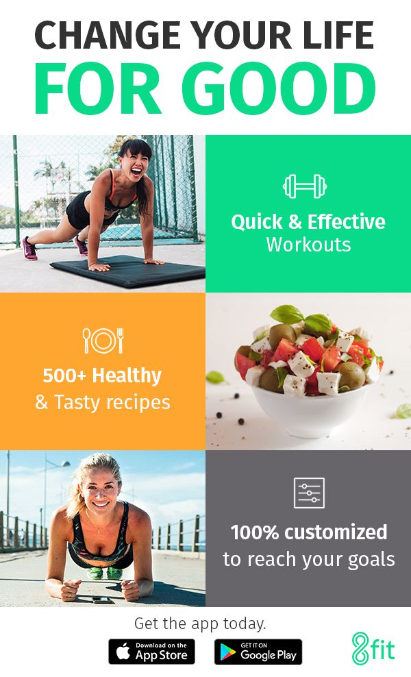 Get the app today & change your life for good.  8fit - Fitness, Nutrition & Personal Trainer for Android & iPhone Get customized workout & meal plans to get fit & healthy.  http://go.8fit.com/8fitPinterest