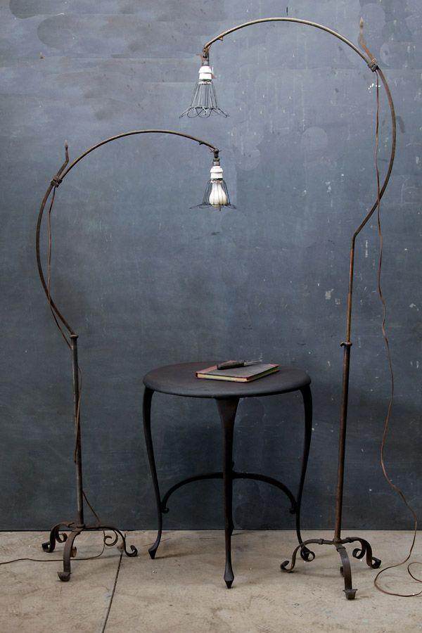 Hand Forged Industrial Bronze Roycroft Arts & Crafts Floor Lamps