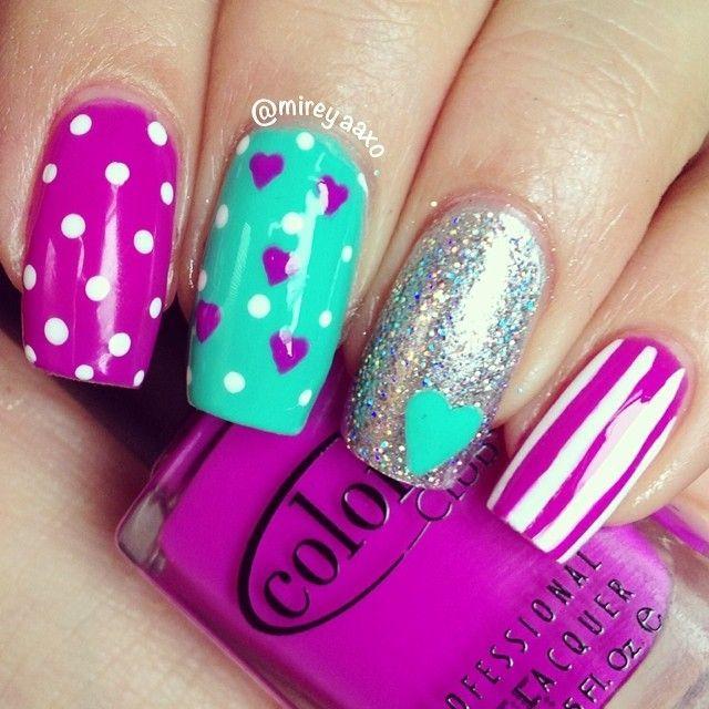 Nail art design - hearts and polka dots!