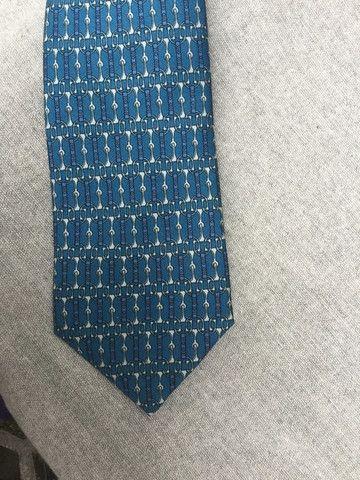 Hermès Paris Silk Blue Print Tie 731 FA 100% AUTHENTIC Men
