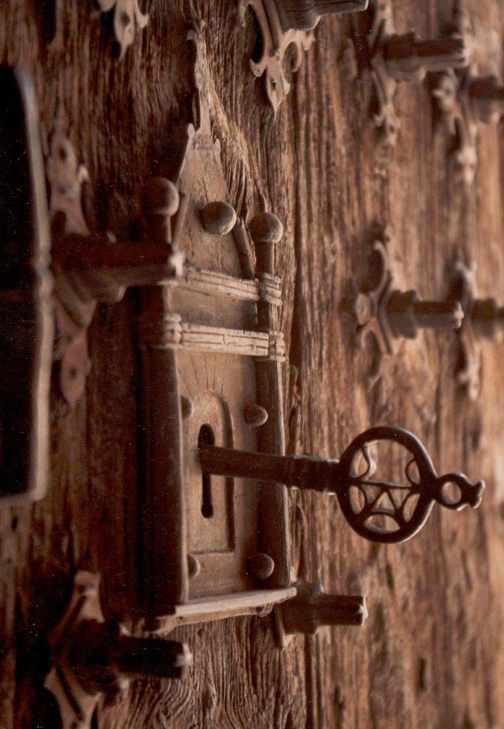 rustic door with keyOld Keys, The Doors, Hardware, Locks, Knockers, Windows, Skeletons Keys, Old Doors, Knobs