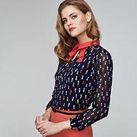 RISE блузка с принтом кошки контрастный воротник #принткошки #блузкасворотником #блузкадлинныйрукав #riseshop.ru #выборпокупателей #blouse #cats #coral #springfashion #fashion2017