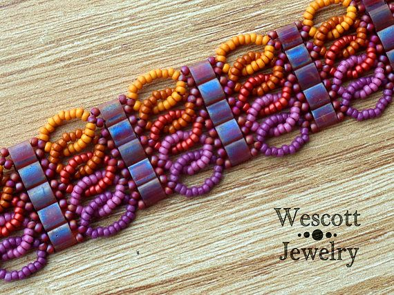 Beadweaving Pattern for Ruched Tila Bracelet Cuff with Two Hole Miyuki Tila Beads or Miyuki Half-Tila Beads or Czechmate Tiles and Seed Bead
