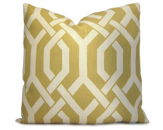 Traditional Sofa Throw Pillows : Trellis Decorative Pillow Cover in Chartreuse Green and Oatmeal - Throw Pillow - Accent Pillow ...