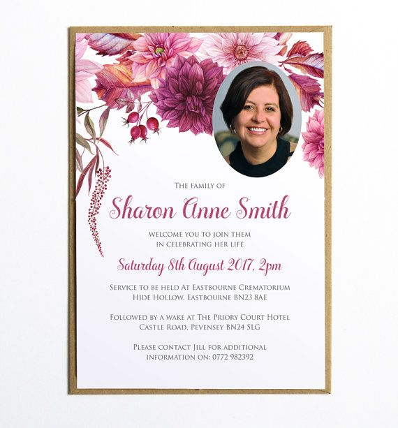 Funeral Memorial Announcement Or Invitation   Dahlias Floral Printable PDF  File  Invitation For Funeral