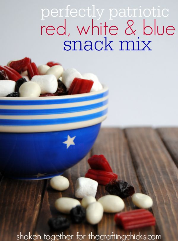 Perfectly patriotic red, white and blue snack mix!