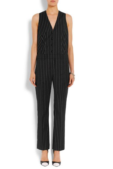 Givenchy - Straight-leg Jumpsuit In Black And White Striped Wool-jacquard - FR38