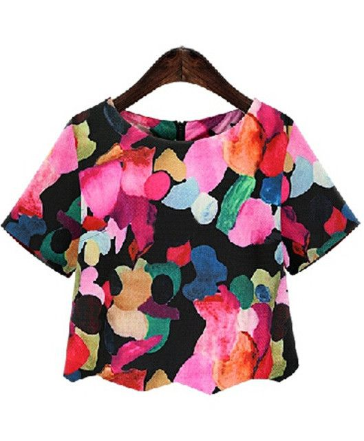 Woman Shirts Summer New Crew Neck Neat Awesome Floral Cute Blouses Casual Short Sleeve Blouse