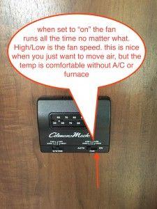 Jayco travel trailer thermostat FAN ON