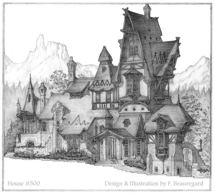 Original Design Sketch For A Steep Roof Pitch Luxury Mountain Chalet Depicted In Western Setting Maybe Colorado Or New Mexico This I Push