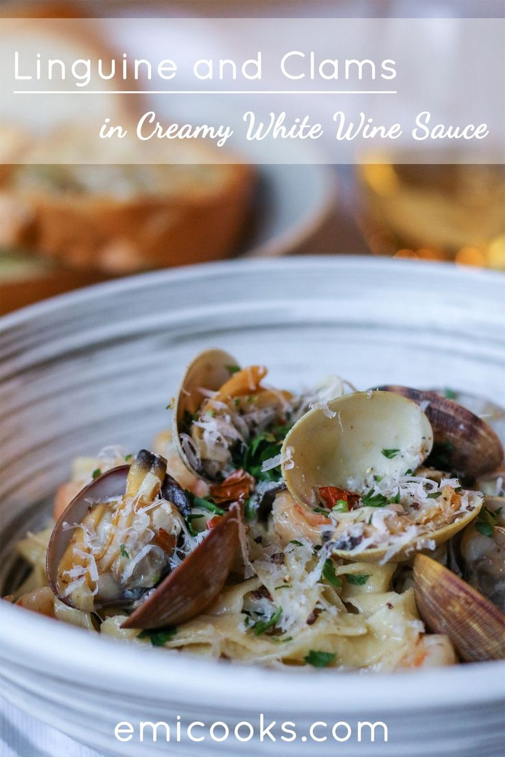 Seriously delicious and simply amazing! Fresh linguine with clams in a creamy white wine sauce. Accompany this dish with wine and buttery garlic toast and you are set!