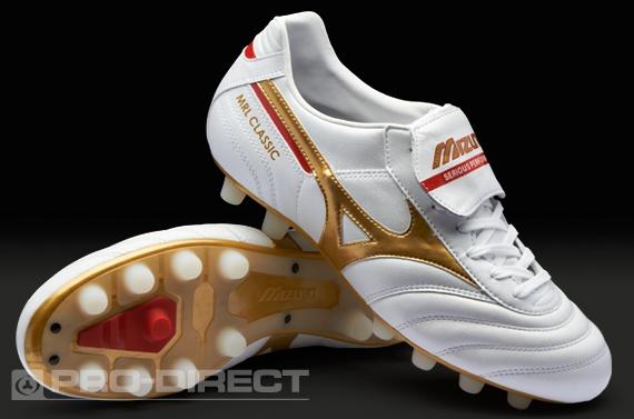 Mizuno Football Boots - Mizuno Morelia Classic MD - Soccer Cleats - Pearl-Gold-Red