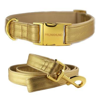 GOLD dog collar - metallic - www.prunkhund.com