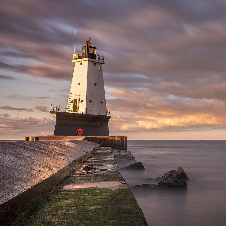 Ludington North Breakwater Light At Dawn Photograph