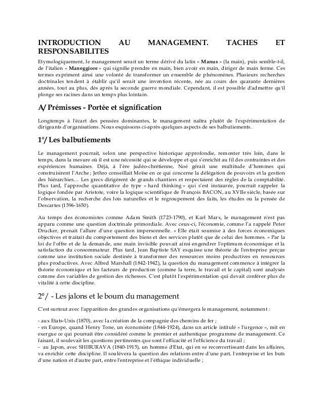 Introduction au management: tâches et responsabilites by gueye abdou karim via slideshare