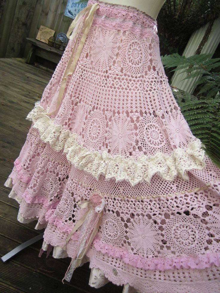 Vintage Kitty.. vintage crochet.. romantic full circle skirt.. shabby chic, lace, roses,hand dyed, pink